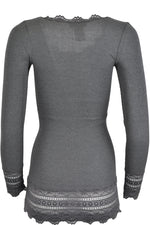 Rosemunde 5209 Long Sleeve Silk Mix Top with Lace Trim Dark Grey