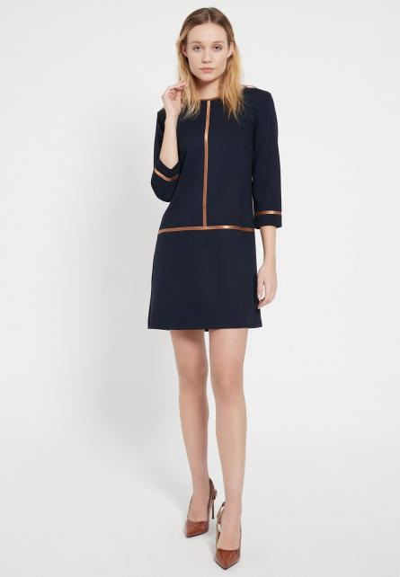 Ana Alcazar Beccy A Line Dress with Contrast Piping Navy