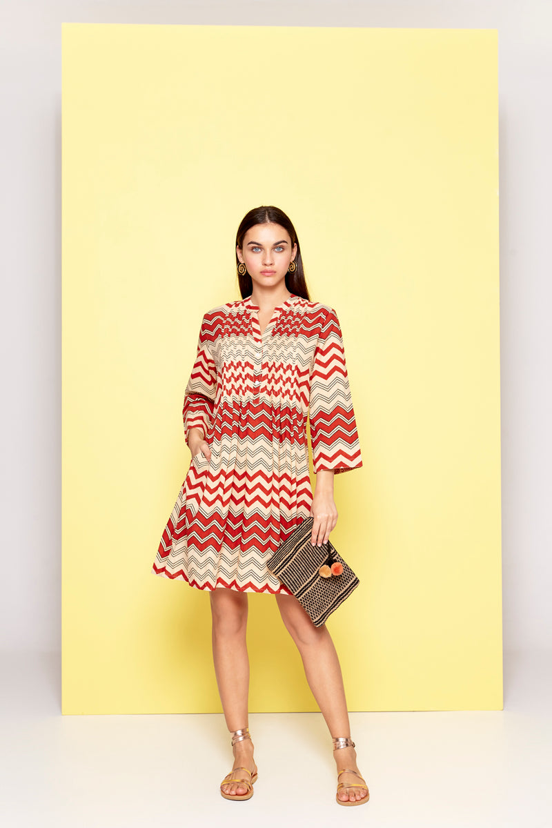 Dream Zig Zag Tunic Dress Burgundy