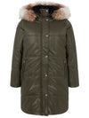 Urban Code Faux Leather Puffa Detachable Hood Khaki