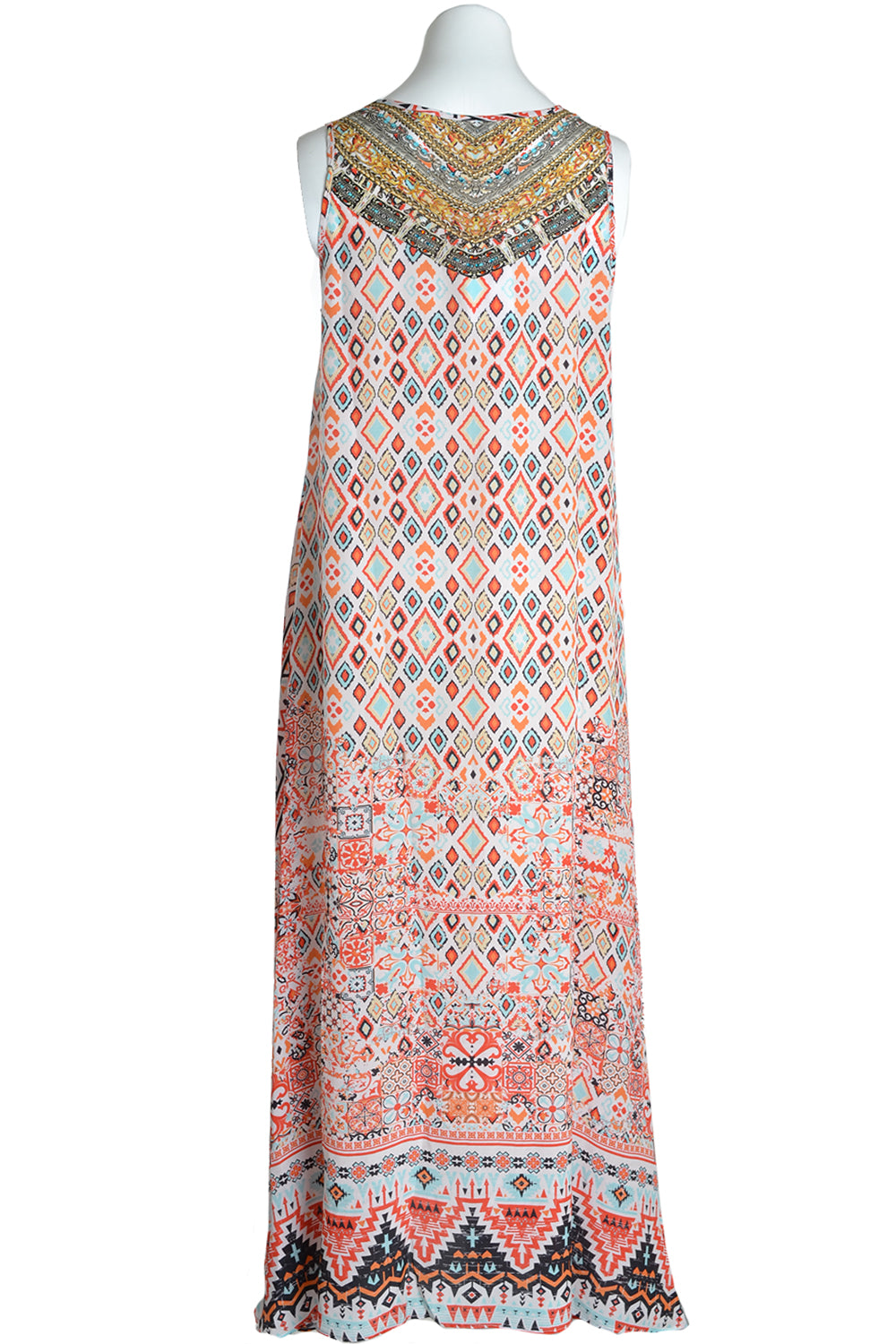 Inoa Dress Flowing Maxi Aleppo Print Coral