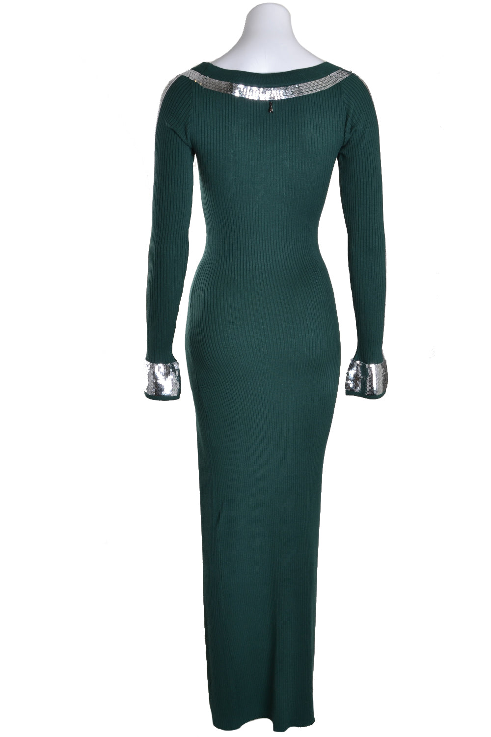 Patrizia Pepe Dress Long Rib Silver Sequin Green