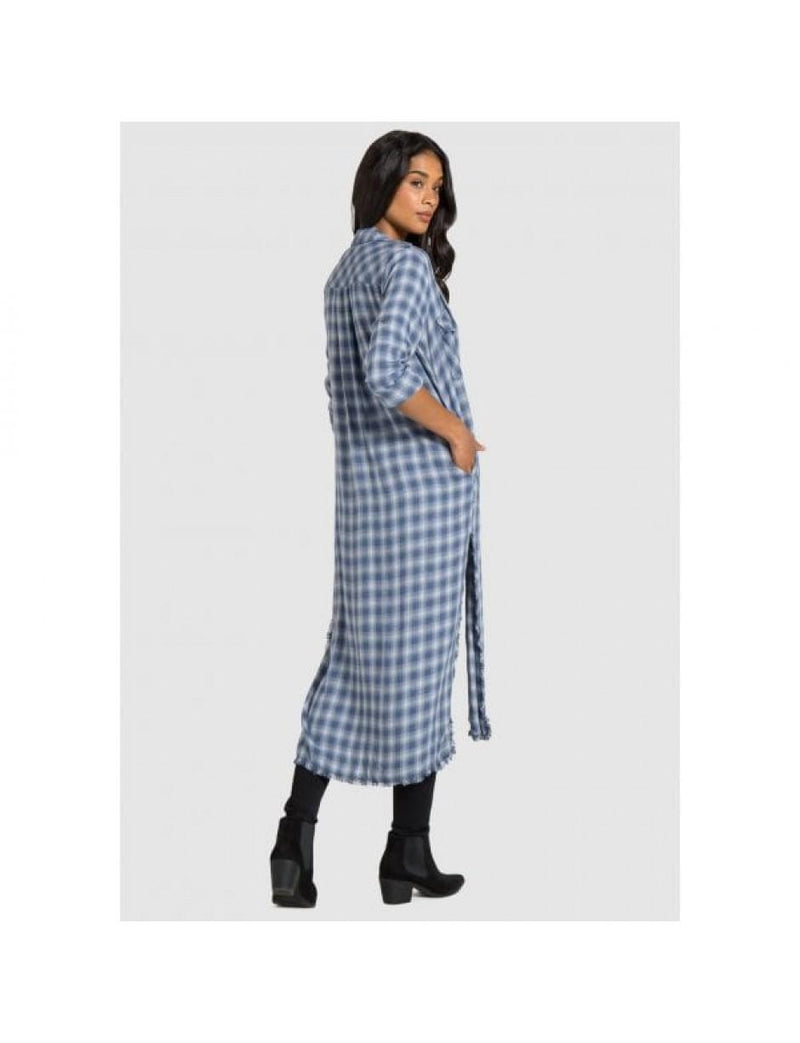 Bella Dahl Dress B6842 Maxi Shirt Check Blue