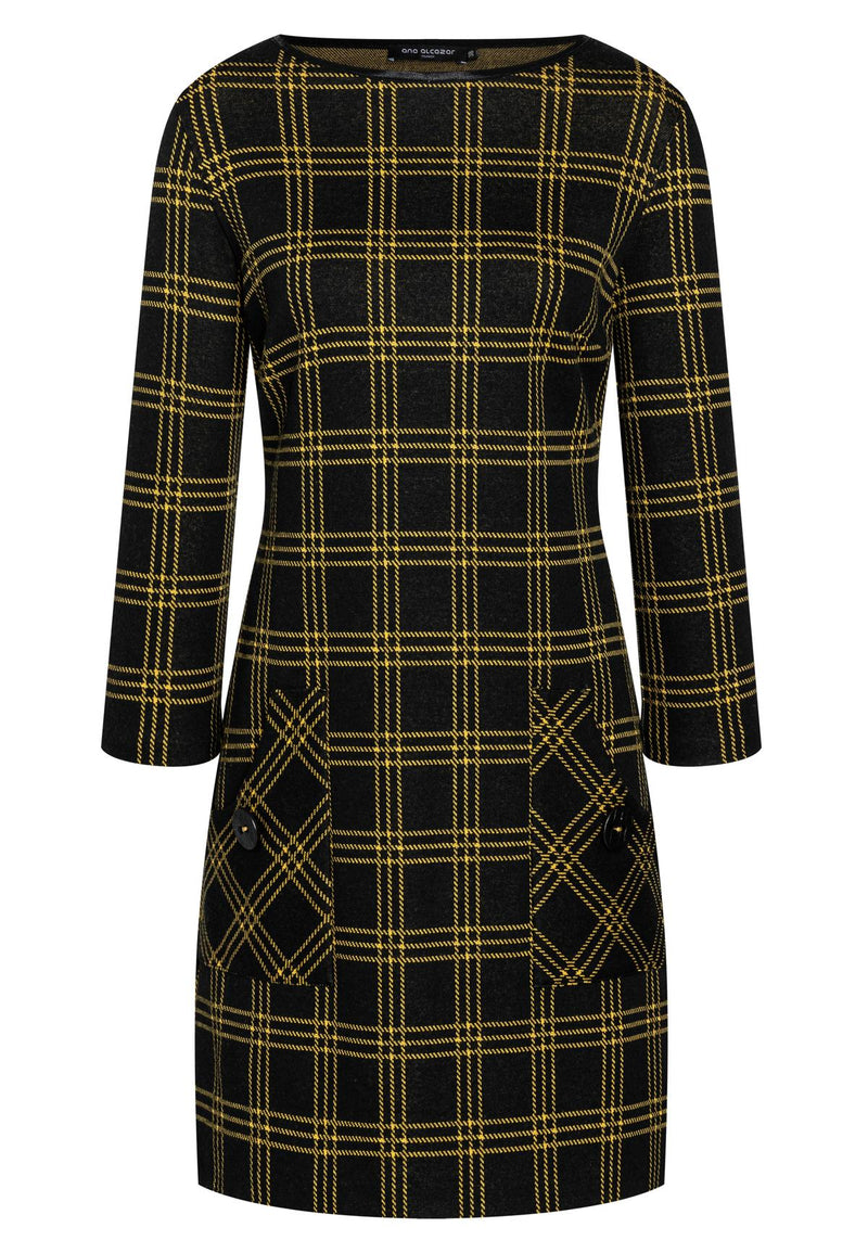 Ana Alcazar BEMLY Checked Dress Black & Yellow