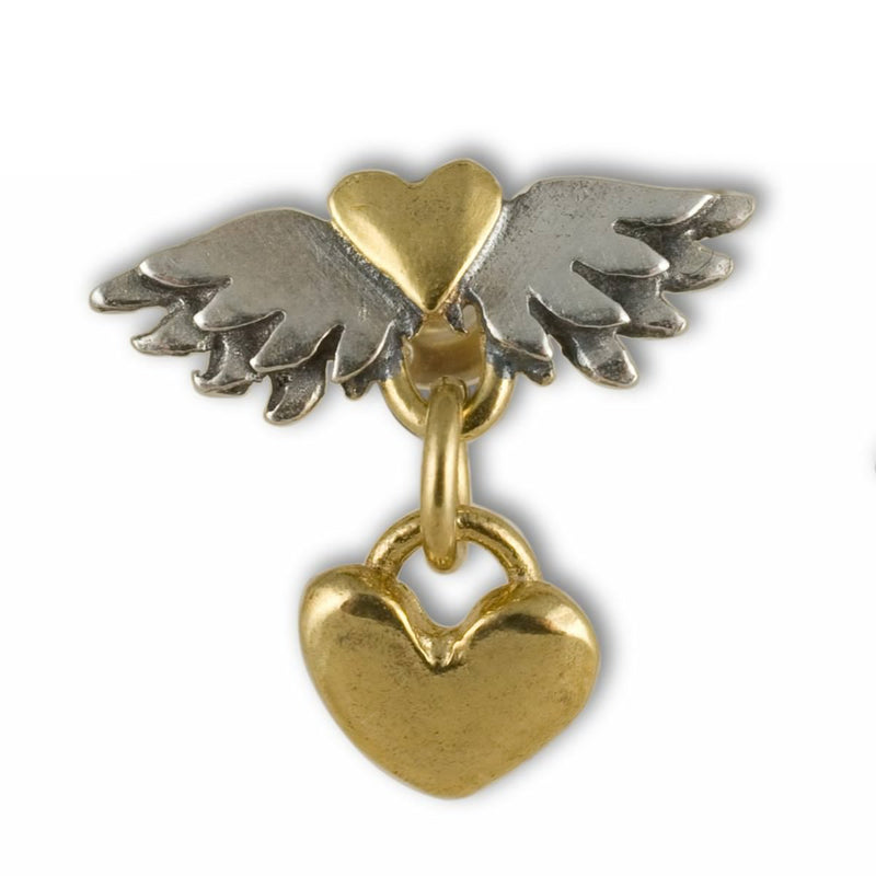 Sophie Harley CLE10 Fine Winged Heart & Heart Drop Earring Silver & Gold