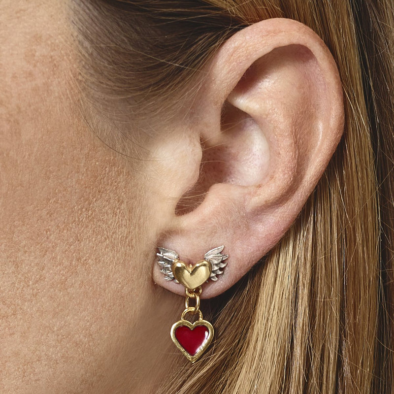 Sophie Harley Earring CLE30 Chubby Wing Heart Red Enamel Drop Red