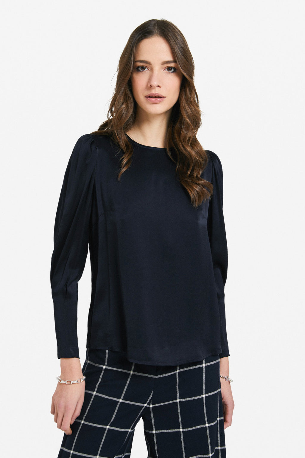 Ottod'Ame 3 Button Silky Blouse Navy