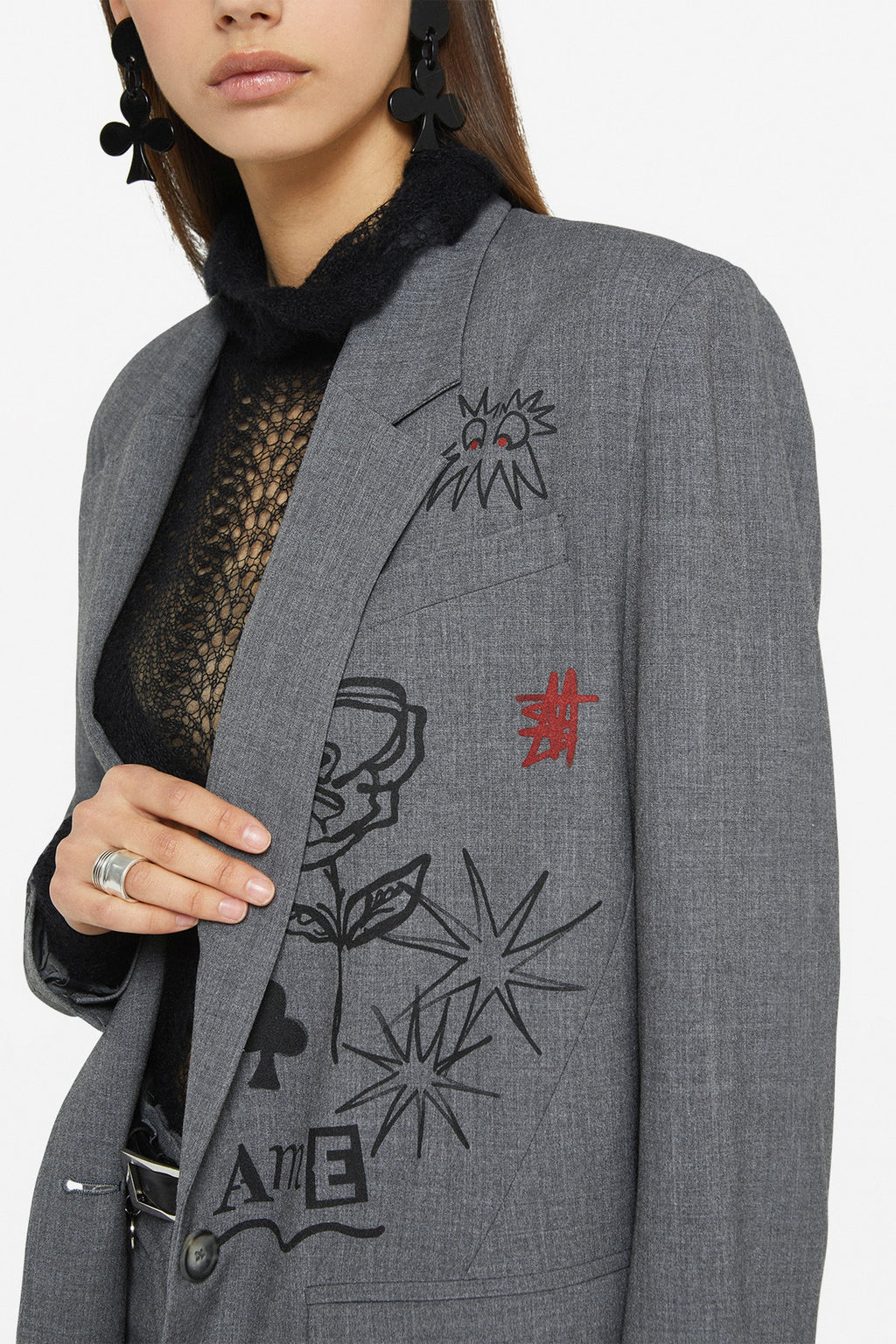 Ottod'Ame Rose Graffiti Jacket Smoke