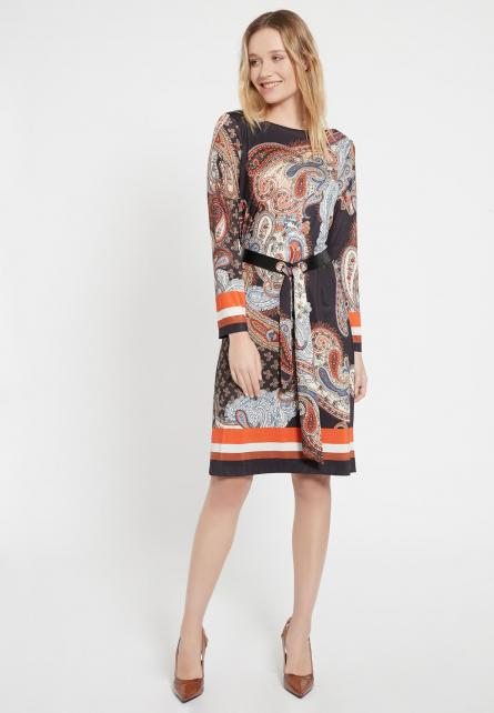 Ana Alcazar BESME Paisley Belted Knee Length Dress Orange