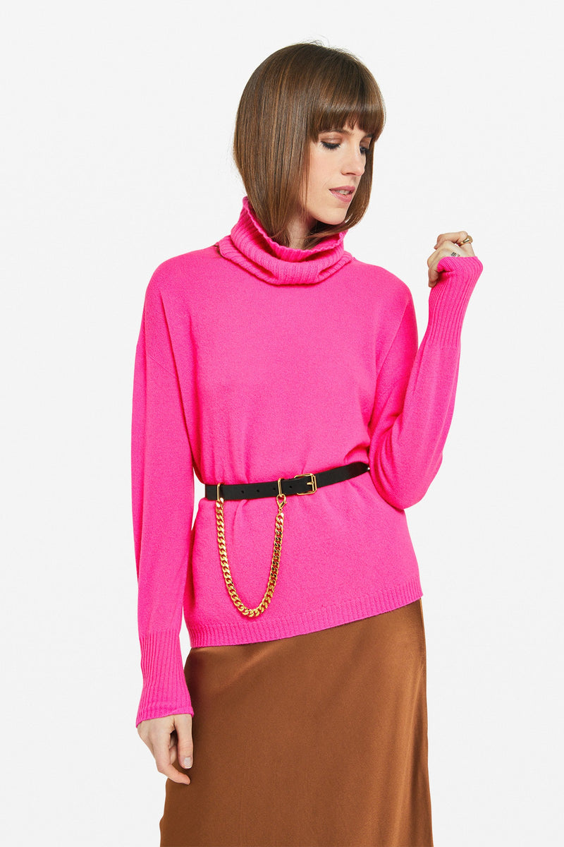 Ottod'Ame Removable Cowl Neck Sweater Magenta