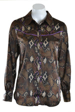Dante 6 Blouse FAITH Snake Print Bitter Chocolate Snake