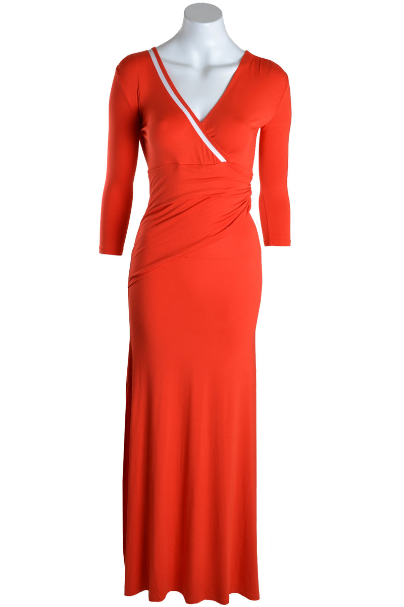 Patrizia Pepe Dress Long V Neck Red