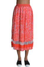 Delicate Love Skirt KIRA Pleated heart Print Red Aqua