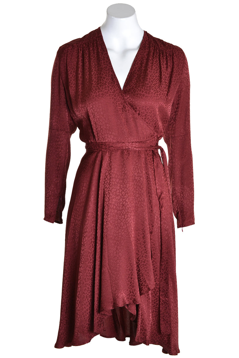 Dante 6 Dress DAYNA Leopard Jaquard in Marsala Red Burgandy