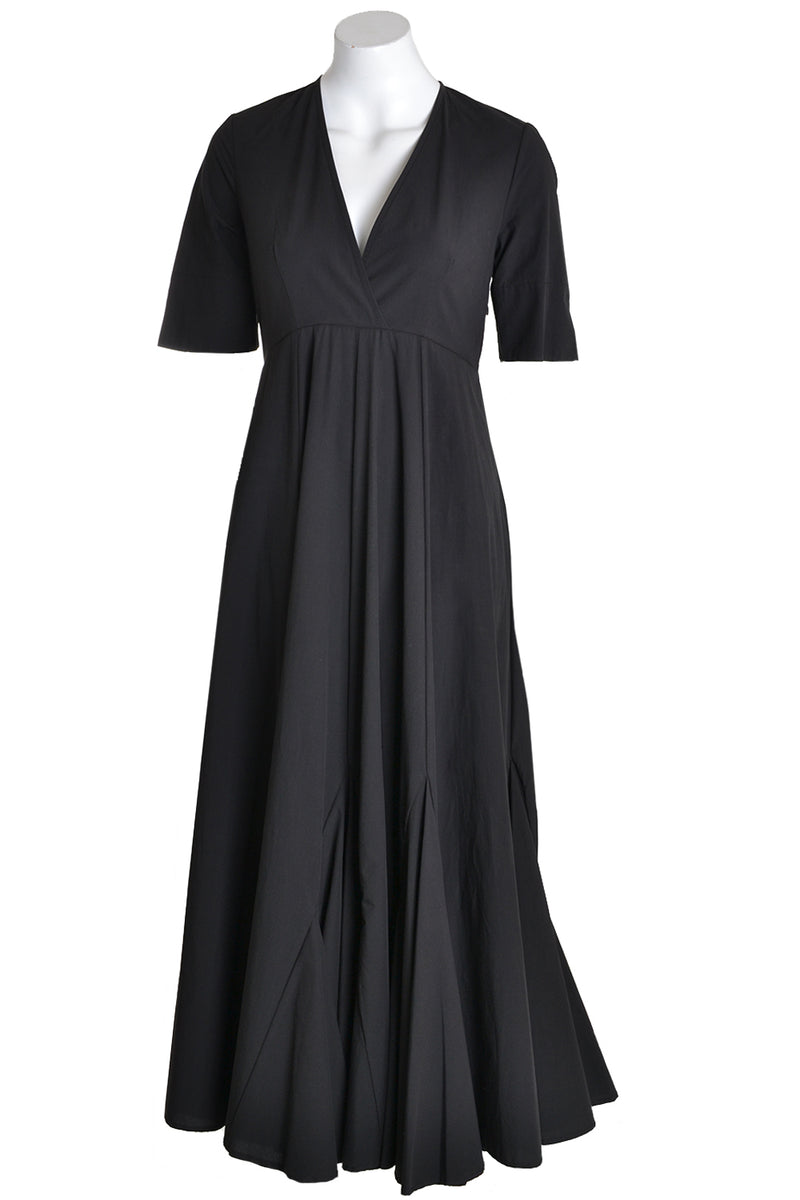 Ottodame Long Dress DA3950 Full Skirt With Godet Black
