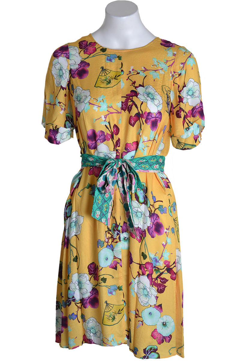 Hale Bob Dress ASSUMPTA Belted Oriental Print Gold
