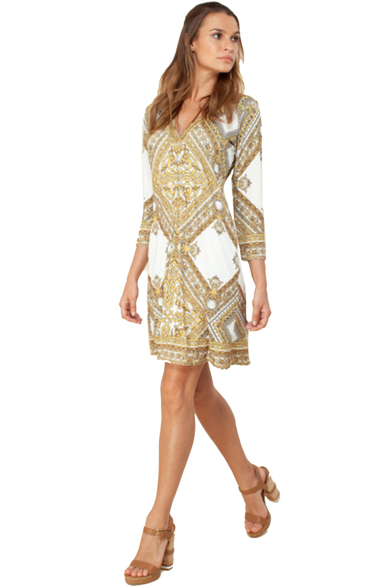 Hale Bob Dress Maya Jersey Gold Square White