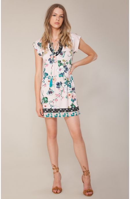 Hale Bob Dress Coco Tie Neck Oriental Blush