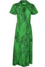 0039 Italy HAVANNA Maxi Wrap Shirt Dress Green