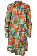 0039 Italy GRACIA Long Sleeve Shirt Dress Green