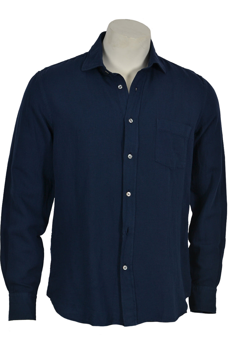 Hartford AV01005 Linen Mix Shirt Navy