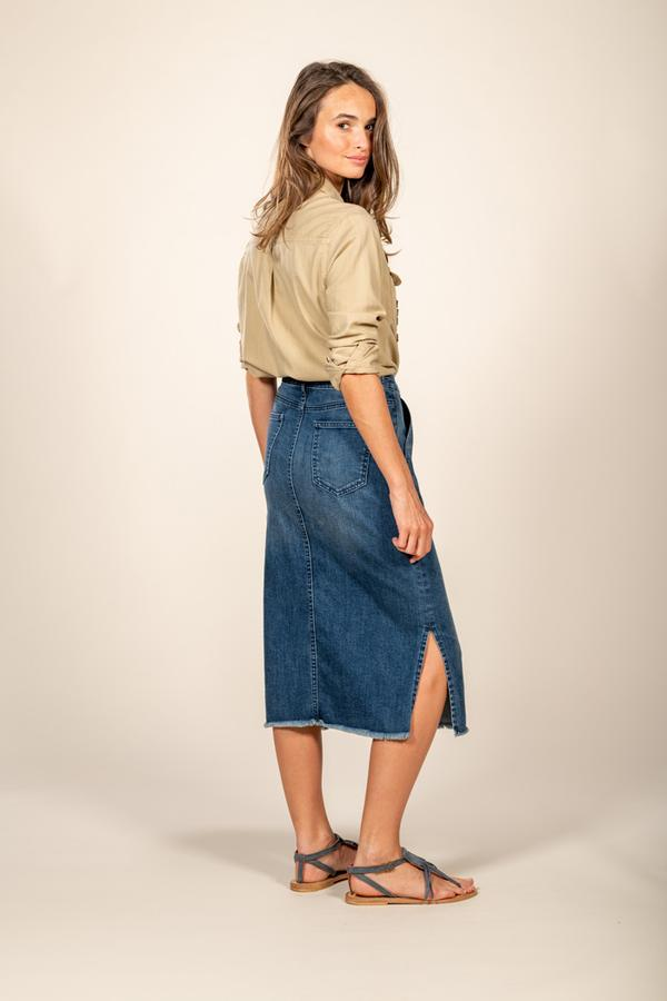 Five Jeans Skirt LILI Knee Length Denim Dark Blue