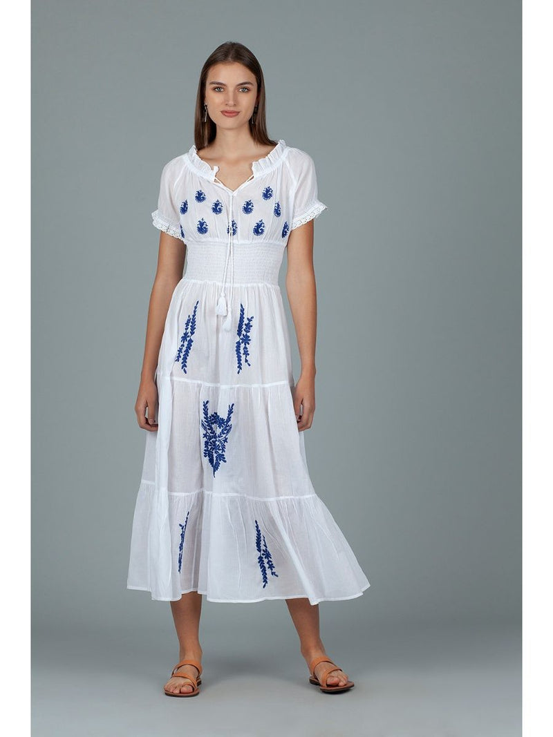 Dream NE998A Blue Embroidered Maxi Dress White