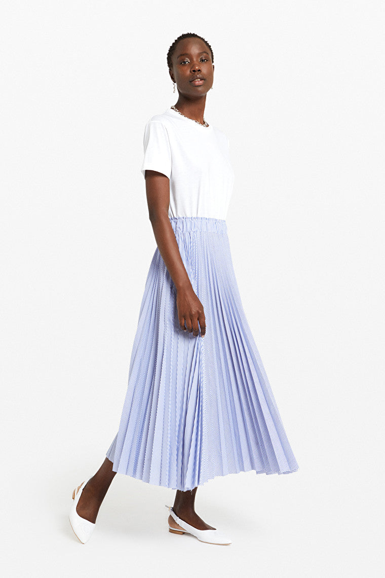 Ottodame Long Skirt EN5742 Fine Stripe Pleated Light Blue