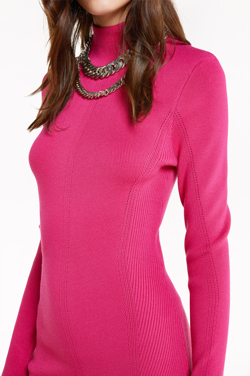 Patrizia Pepe Patrizia Pepe 2A2132 Knitted Ribbed Polo Neck Midi Dress Flash Pink