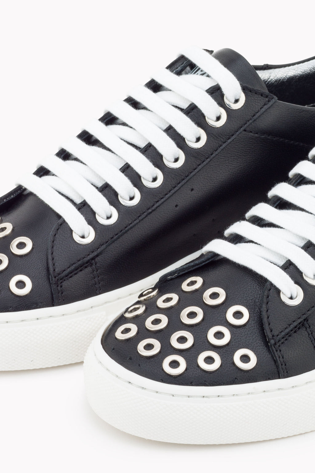 Patrizia Pepe 2V9875 Rivet Studded Fly Trainers Black & White