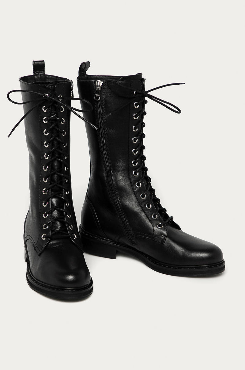 Patrizia Pepe 2V9957 Calf Length Lace Up Boot Black
