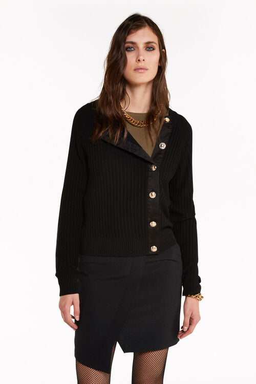 Patrizia Pepe 8M1094 Gold Button Cardigan Black