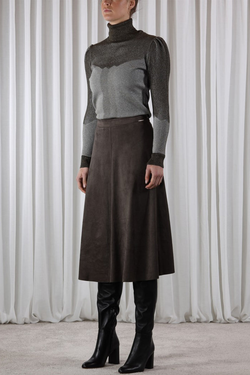 Rino & Pelle RANOMI Faux Suede Circle Skirt Dark Olive