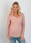 Suzy D Long Sleeve Pocket Top Pale Pink