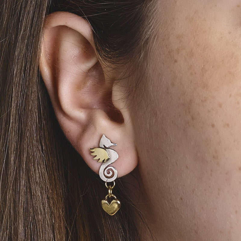 Sophie Harley CLE12H Seahorse Earrring with Gold Heart Drop Silver & Gold