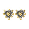 Sophie Harley MLKE7 Sacred Heart Stud Earring Silver and Gold