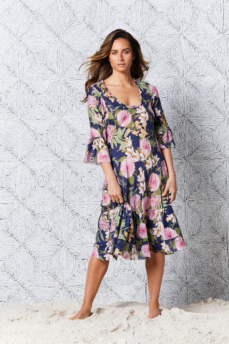 Oneseason Valentina dress Cotton St Barts Print Navy