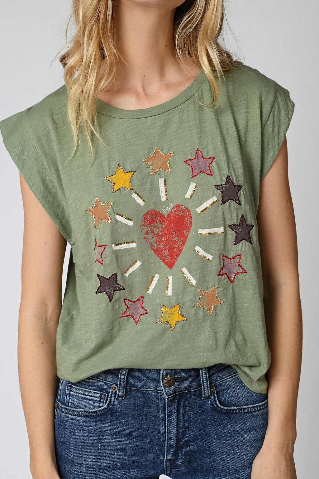 Five Jeans TSE2107 Heart & Star T-Shirt Oil Green
