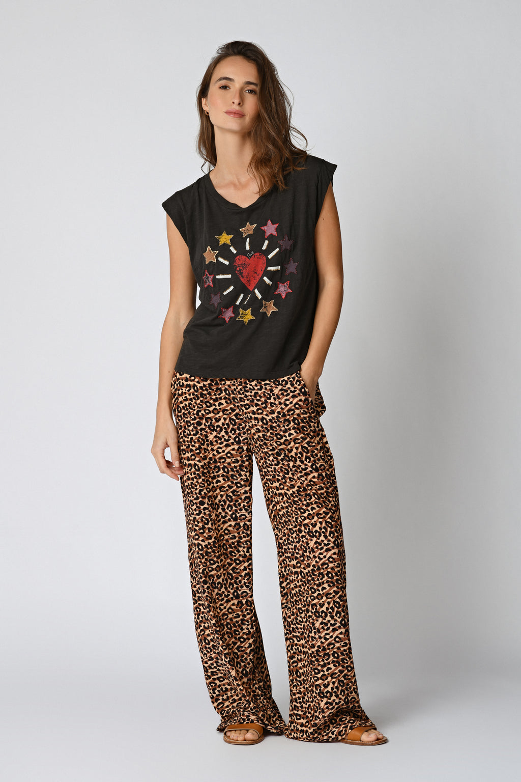 Five Jeans TSE2107 Heart & Star T-Shirt Carbone