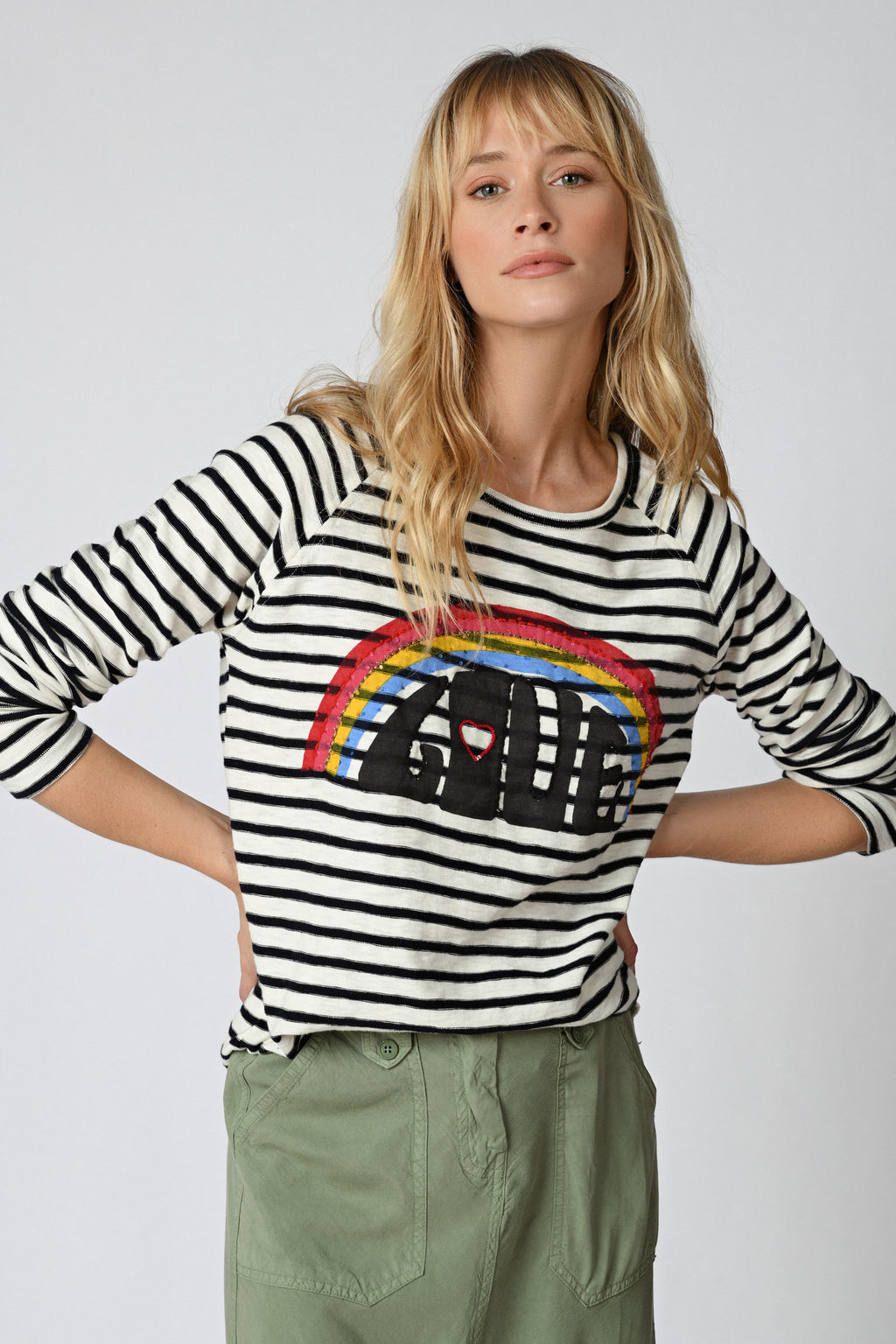 Five Jeans TSE2116 L/S Striped Rainbow Love White & Blue