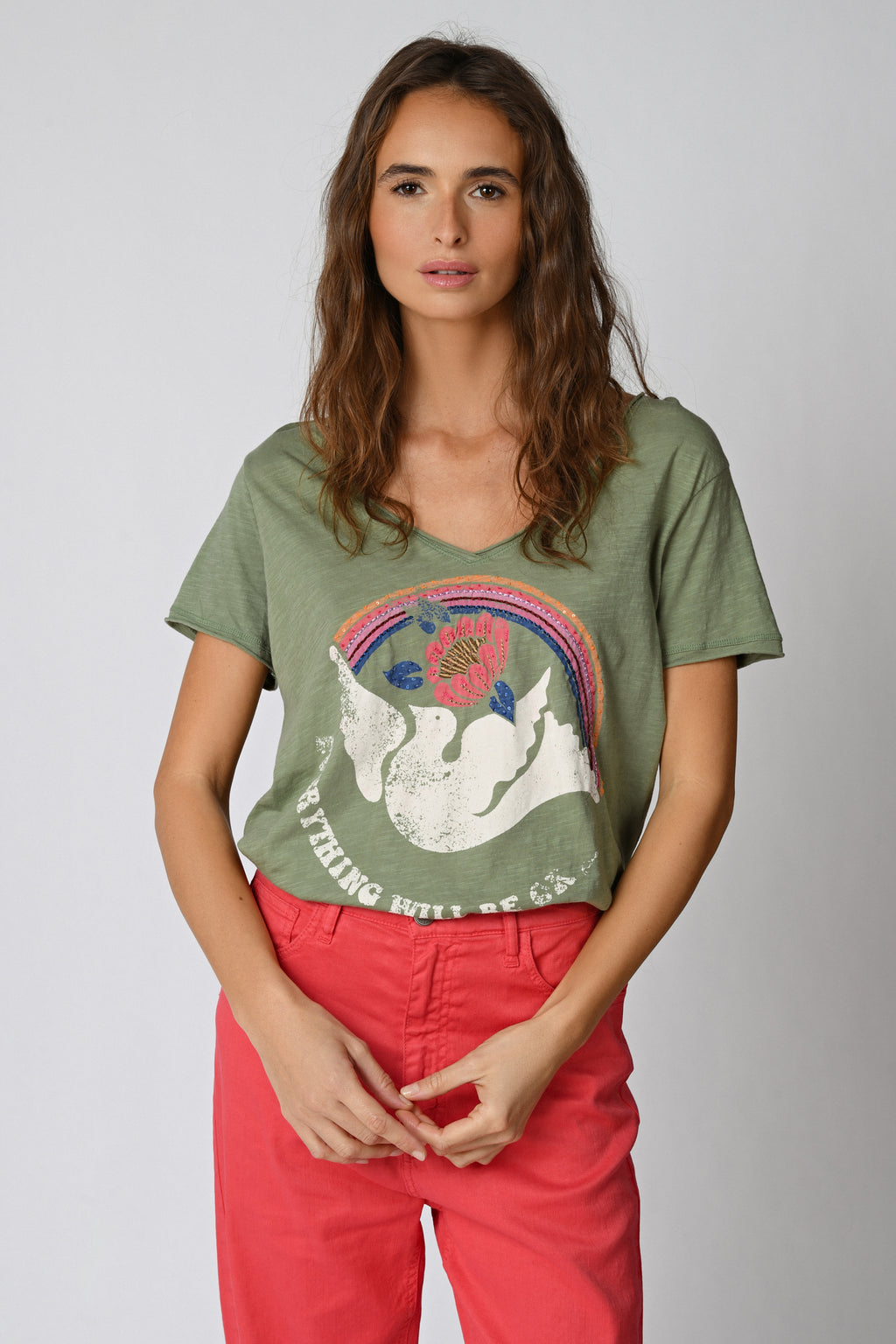 Five Jeans TSE2120 Dove Rainbow T-Shirt Oil Green