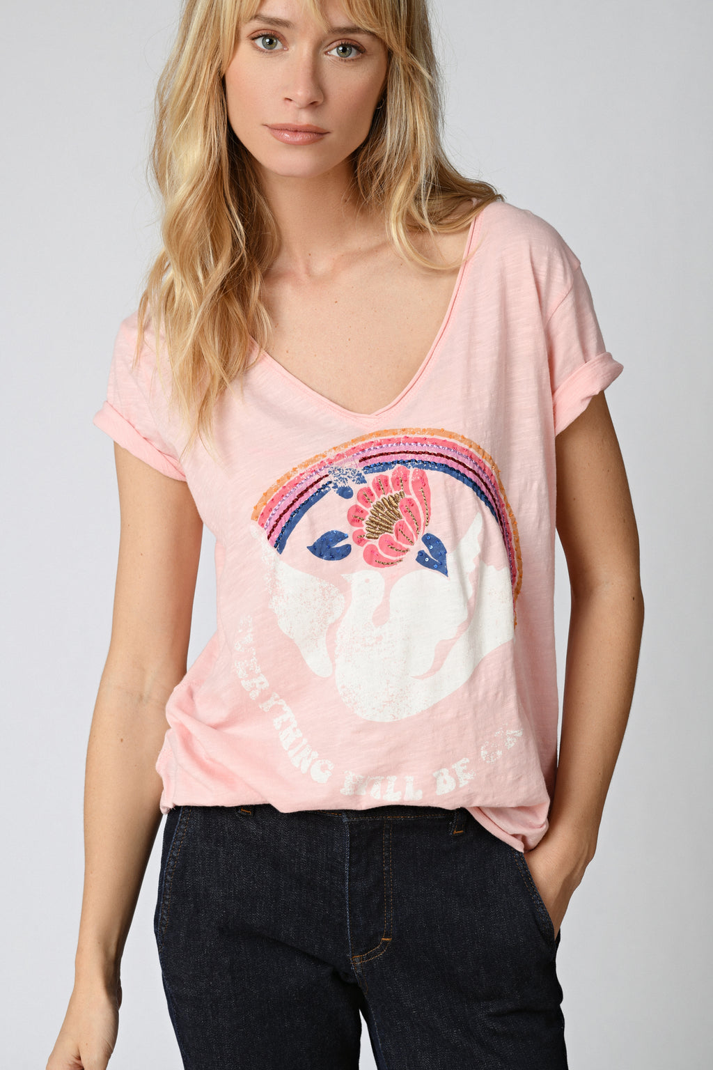 Five Jeans TSE2120 Dove Rainbow T-Shirt Pink