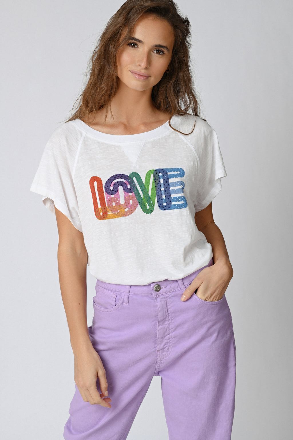 Five Jeans TSE2126 Rainbow Love T-Shirt White