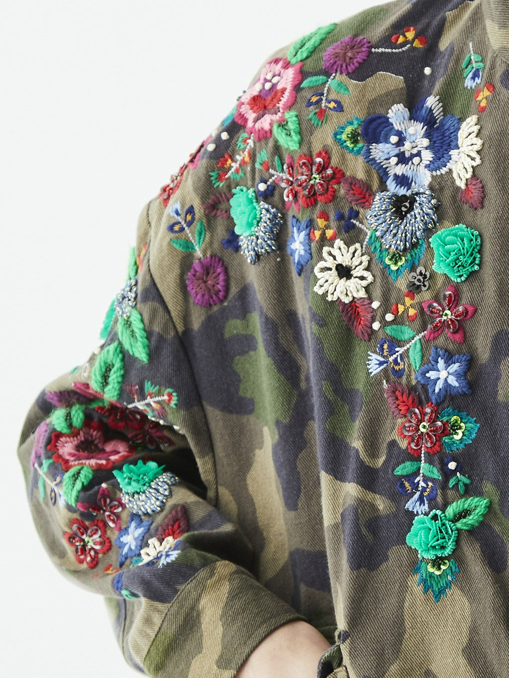 Vilagallo ANIA Camouflage Jacket with Embroidered Flowers Camouflage.