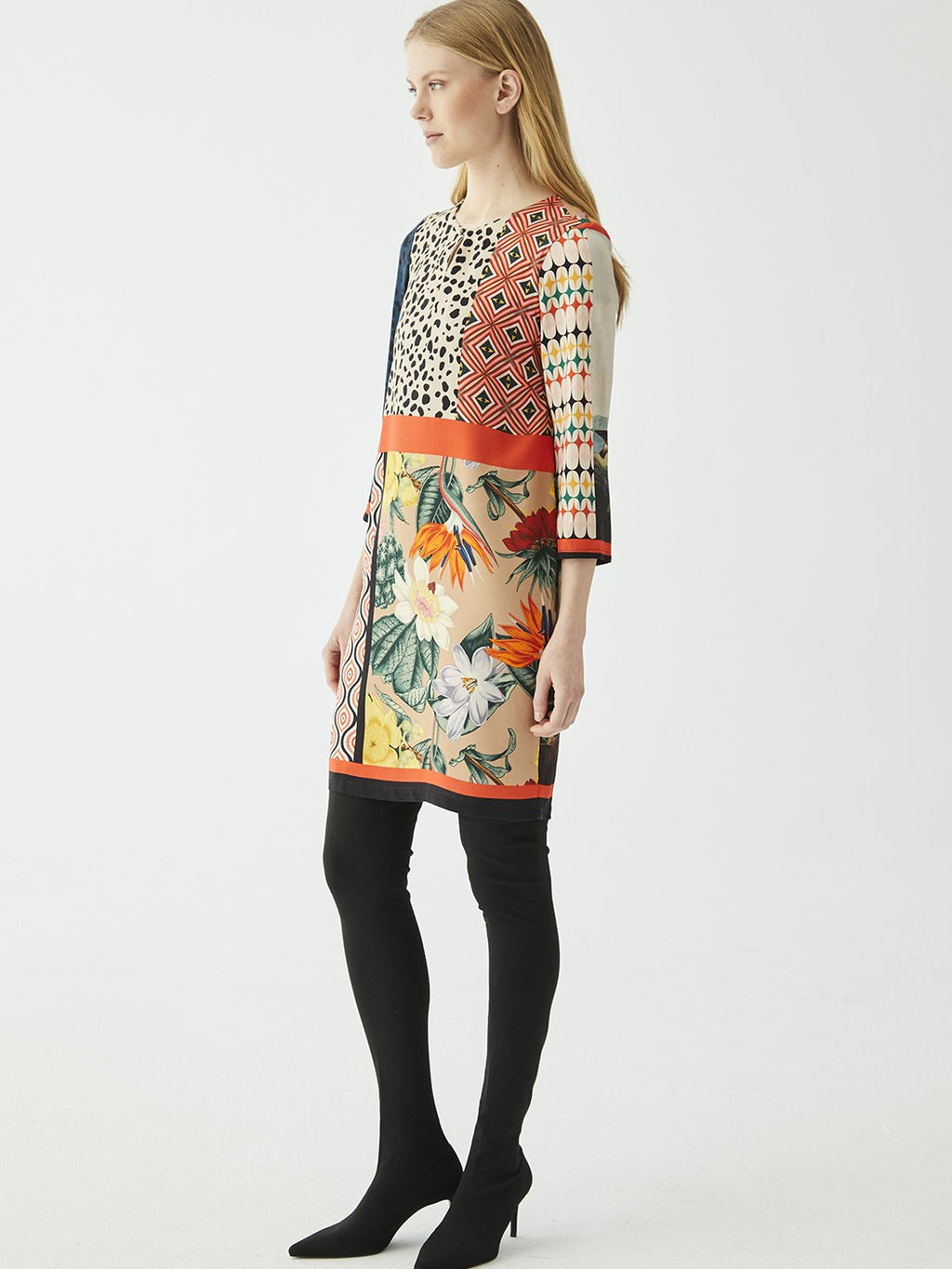 Vilagallo TESA Patchwork Knee Length Dress Multi.