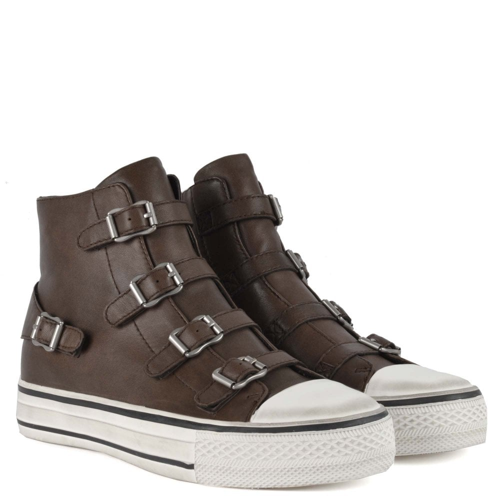 Ash Virgin Nappa Leather Buckled Trainers Fango