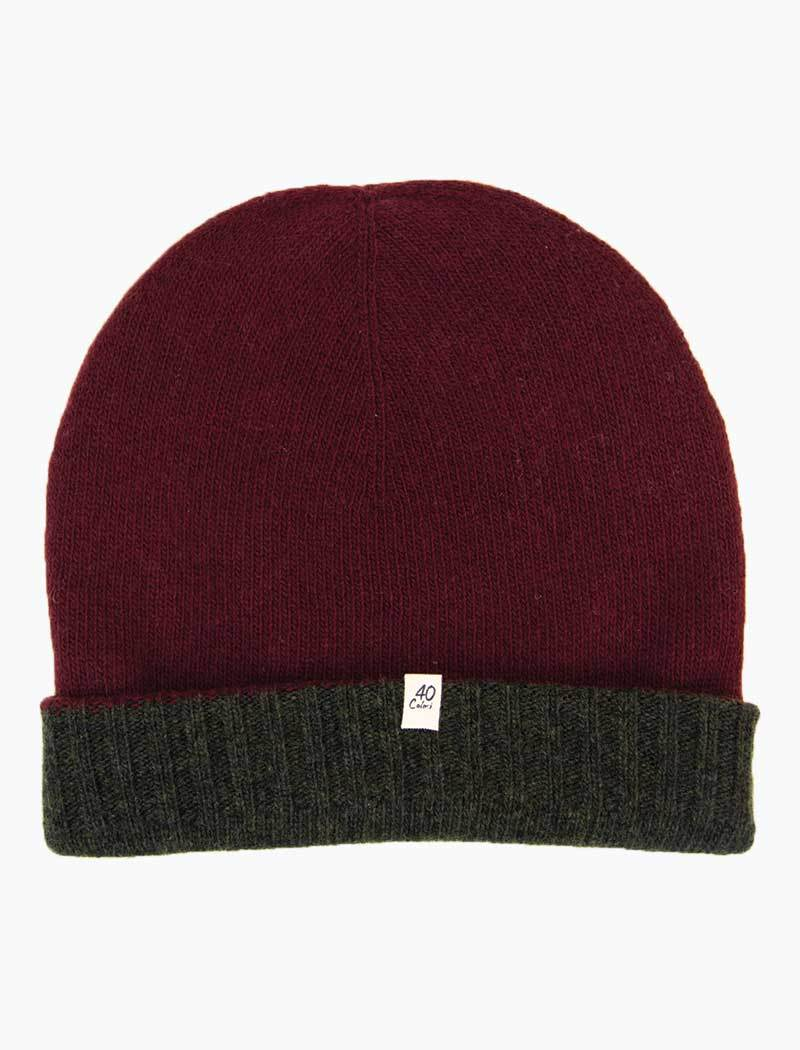 40 Colori 113503-BNE Reversible Wool & Cashmere Beanie Burgundy