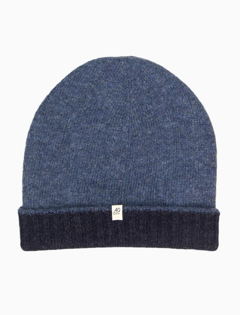 40 Colori 113507-BNE Reversible Wool & Cashmere Beanie Navy