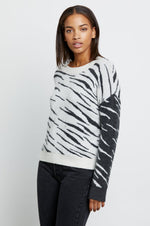 Rails Clothing Lana Abstract Tiger Print Sweater White & Grey