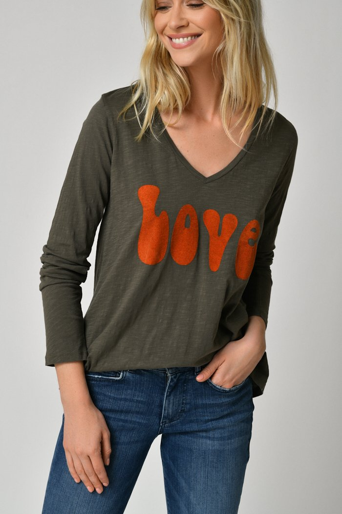 Five Jeans Long Sleeve Love T-Shirt Ivy Green